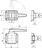 2-vägs kulventil, polypropylen, serie 453